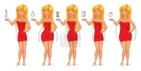 Illustration for Five types of female figures. Body shapes. Funny cartoon character. Vector illustration. Isolated on white background - Royalty Free Image