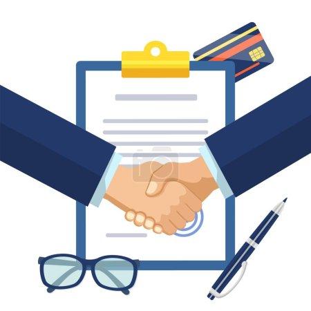 Empresarios estrechando la mano en contrato firmado