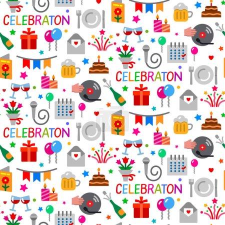 Illustration pour Illustration du motif sans couture de la célébration - image libre de droit