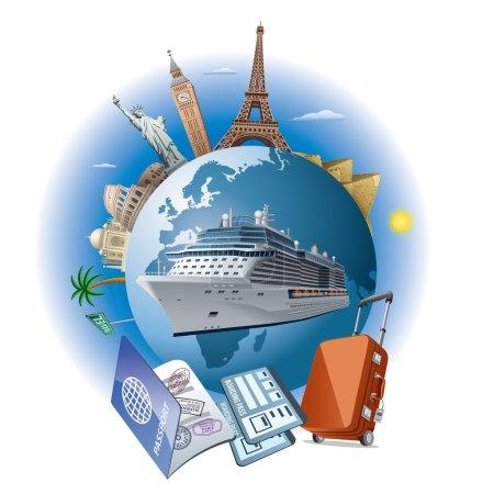 Illustration for Cruise ship travel - Royalty Free Image