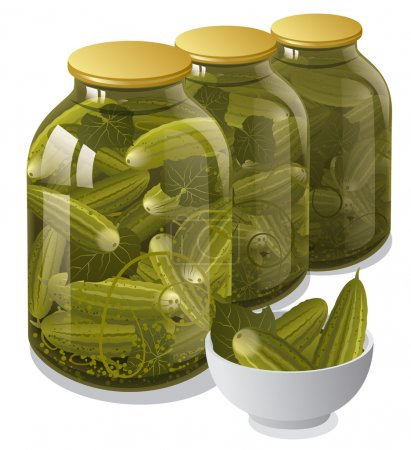 Illustration for Canned jars of cucumbers - Royalty Free Image