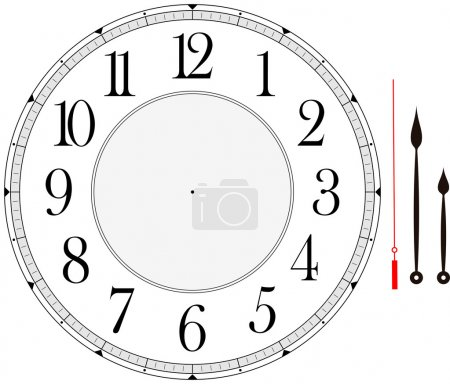 Illustration for Clock face template with hour, minute and second hands to make your own time isolated on white background - Royalty Free Image
