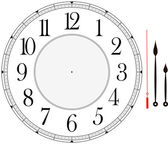 Clock face template with hour minute and second hands to make your own time isolated on white background