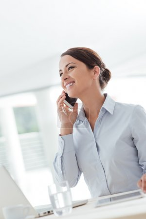 woman having a phone call