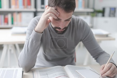Man studying in the library