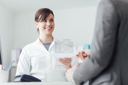 customer  giving prescription