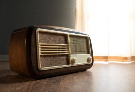 Vintage radio next to the window