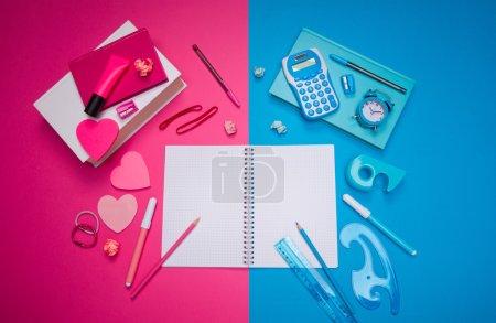 Photo pour Les opposés attirent le concept avec bureau bleu clair masculin et bureau rose girly, papeterie et notes de bâton en forme de coeur . - image libre de droit