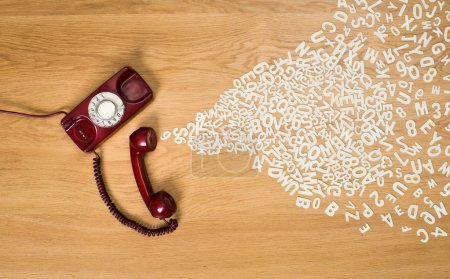 Phone call concept with plastic letters
