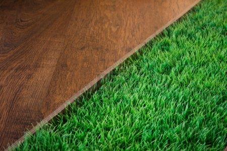 Green lush artificial grass