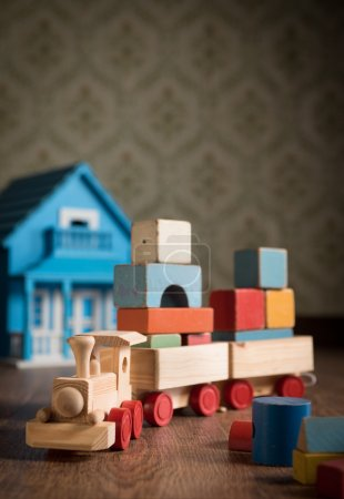 Wooden train and doll house