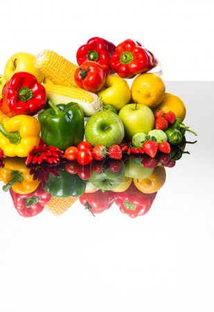 Photo for Healthy fresh colorful vegetables and fruits on white background. - Royalty Free Image