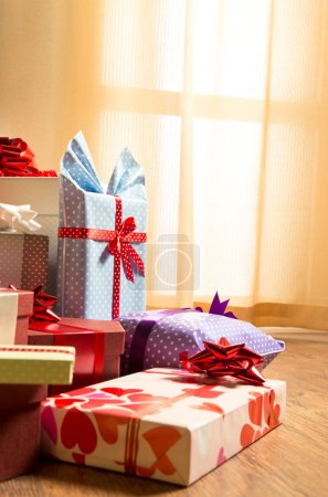 Gifts with ribbon for family