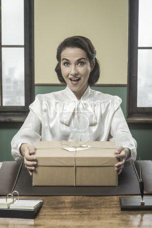 Secretary receiving a surprise