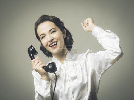 Secretary receiving good news