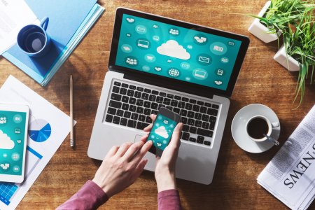 Photo for Cloud computing and social network interface on a laptop, tablet and smartphone screen - Royalty Free Image