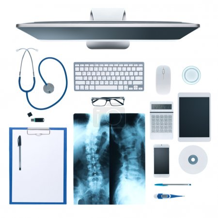 desktop with medical equipment