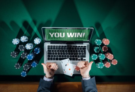 Man thumbs up playing online poker