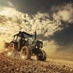 Farmer in the field driving a tractor on fertile s...