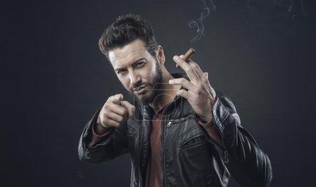 fashionable man with cigar
