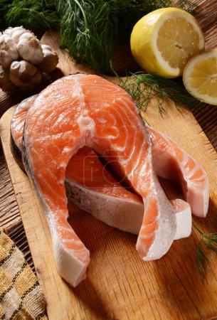 Fresh salmon chunks