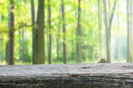 Foto de Mesa de madera vacía para monatges de exhibición - Imagen libre de derechos