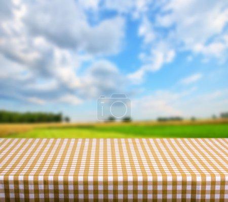 Photo pour Table vide pour l'affichage des produits montages sur fond nature - image libre de droit