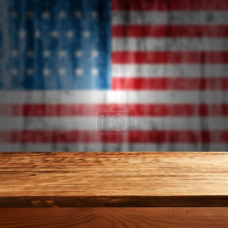 Empty table with american flag