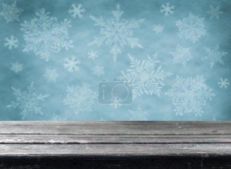 Empty  table with blue christmas background