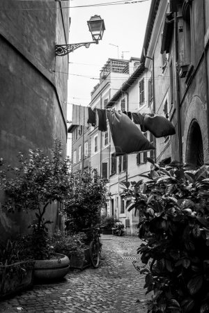 Black and white scene from Trastevere district of Rome, Italy