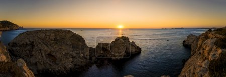 Photo for Mediterranean sunset. Panoramic view  in Ibiza island - Royalty Free Image