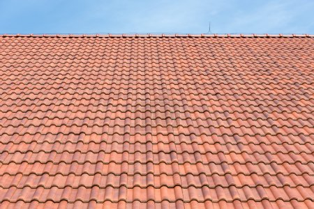 Red tiles roof background and blue sky