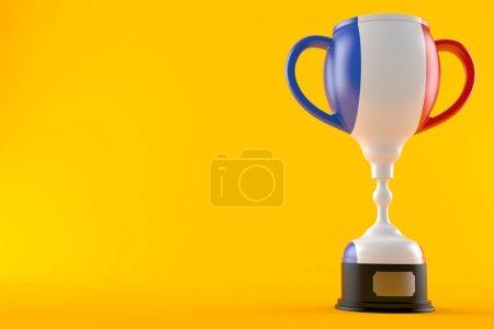 Photo pour Trophée avec drapeau français isolé sur fond orange. Illustration 3d - image libre de droit