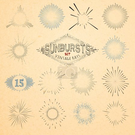 Set of Retro Sun Burst Shapes. Vector Collection of Trendy Hipster Sunburst Design Elements. Bursting Sun Rays Frames. Light Ray Vintage Style Frames