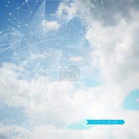 Illustration for Abstract Geometric Polygonal Shape. Vector Science Background. Futuristic Technology Background. Connecting Dots and Lines Structure. Clouds Heavens Background - Royalty Free Image