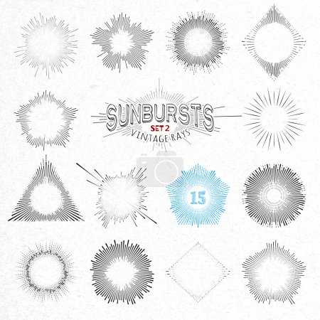Set of Retro Sun Burst Shapes. Vector Collection of Trendy Hipster Sunburst Design Elements. Bursting Sun Rays Frames. Light Ray Vintage Style Frames