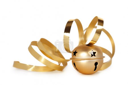 Photo for Golden jingle bell with curled ribbon on a white background - Royalty Free Image
