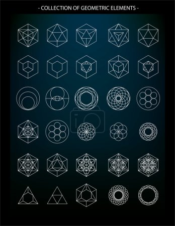 Illustration for Vector set of geometric elements, symbols of religion, spirituality, alchemy, mysticism and astrology - Royalty Free Image