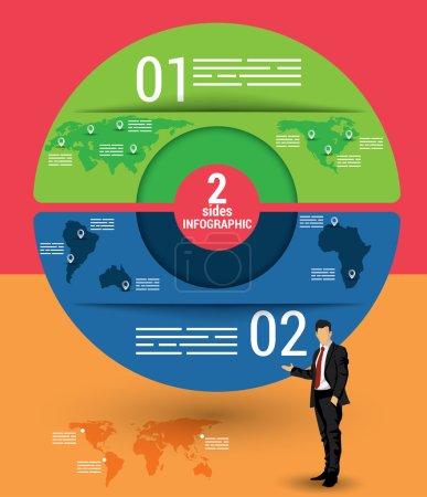 Illustration pour Modèle infographique de deux côtés, une carte vectorielle avec 2 options utilisées pour le web, bannières, rapports, présentation et brochures. - image libre de droit