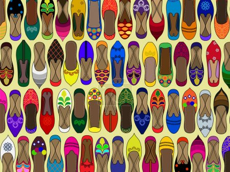 Illustration for Pattern of Traditional Indian (shoes) juttis. They make great repeating wallpaper tiles (swatches) - Royalty Free Image