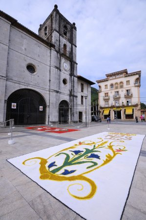 The village of Pravia in Asturias with floral carpets to celebra