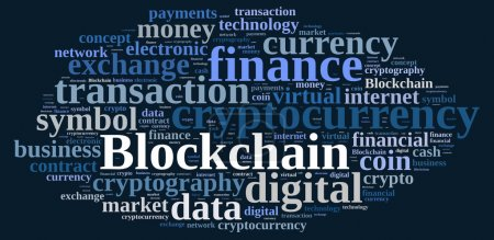 Photo for Illustration with word cloud with the word Blockchain - Royalty Free Image