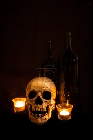 Vintage Skull and Wine by Candlelight