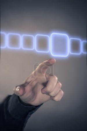 Male finger listing in virtual data