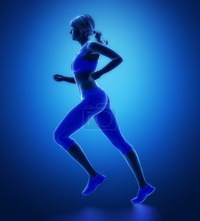 Running woman in sport clothes