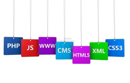 Photo pour Webdesign et concept Internet avec des langages de programmation nom et outil de développement de site Web sur des étiquettes suspendues colorées isolées sur fond blanc . - image libre de droit