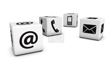 Photo pour Web Contactez-nous Concept Internet avec e-mail, téléphone mobile et à des icônes noires et symbole sur quatre cubes blancs pour site Web, blog et en ligne d'affaires . - image libre de droit