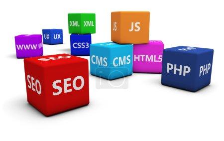 Photo pour Développement web design, concept Internet et SEO avec langage de programmation sur cubes colorés isolés sur fond blanc . - image libre de droit