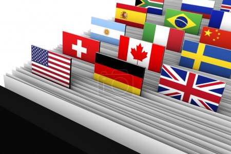 Photo pour International business and global market concept with a close-up of a customer file directory with document file and international flags on tags. - image libre de droit