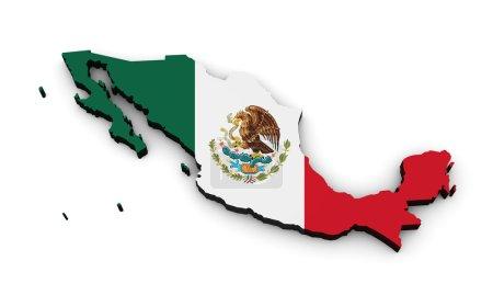 Photo pour Forme 3d du Mexique carte avec drapeau mexicain isolé sur fond blanc . - image libre de droit